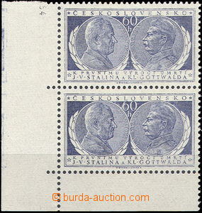 51894 - 1954 Pof.773, Anniv of Death, corner vertical pair with marg