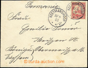 51899 - 1903 DEUTSCH SÜDWESTAFRIKA letter franked by 10Pf stamp, Mi