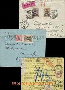 51947 - 1911-36 3x celistvost, 1x větší díl celinové mezinárodní prů