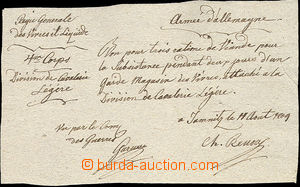 51955 - 1809 MILITARIA  ručně psaná rekvírovací potvrzenka francouzs