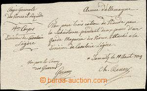 51955 - 1809 MILITARIA  handwritten requisition confirmation card Fr