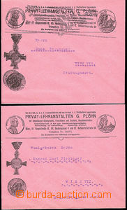51956 - 1900 2 pcs of pink envelopes with additional-printing Privat