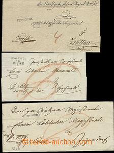 51978 - 1820-40 3ks skládaných dopisů Ex offo s řádkovým razí