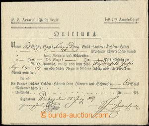 51985 - 1809 MILITARIA  potvrzení o dodávce proviantu armádě