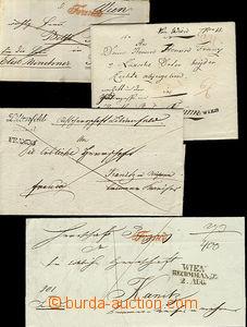 51991 - 1818-43 3ks skládaných dopisů a jedna obálka s řádkov�