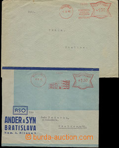 52079 - 1942 comp. 2 pcs of letters with meter stmp, 1x on envelope