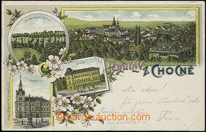 52091 - 1899 Choceň,  litografická koláž, škola, radnice; DA, p