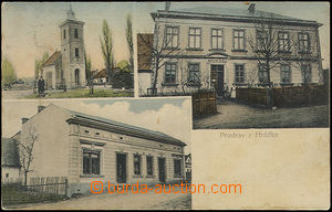 52097 - 1910 Hrádek, 3okénková, kostel, škola, obchod Šalomoun