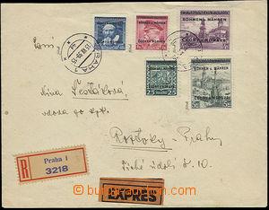 52123 - 1939 FDC jako R + Ex dopis vyfr. přetiskovými zn. Pof.18,