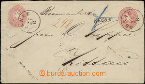 52148 - 1865 postal stationery cover Mi.U33 sent as Reg, uprated wit