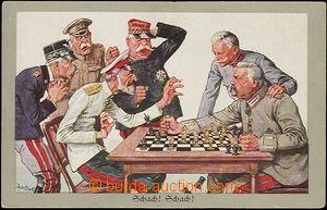 52168 - 1915 CHESS, caricature, issue Munk; Un, bumped corners