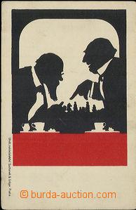 52179 - 1900 ŠACHY, siluety hráčů šachu; DA, nepoužitá, odře