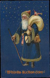 52180 - 1910 vánoční muž s pytlem přes záda plným dárků, zl
