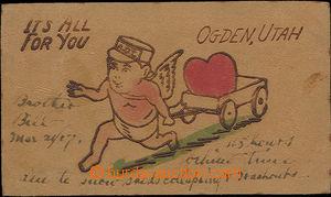 52183 - 1907 leather; postcard from Ogdenu, Utah, cherub with vozík
