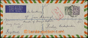 52212 - 1945 registered airmail letter sent to Prague, franked by Mi