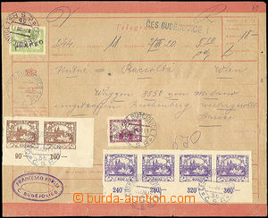 52217 - 1920 telegram to Vienna, with mixed franked. stamp. Hradčan