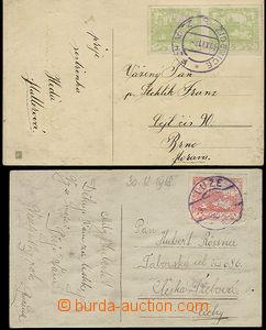 52230 - 1918 comp. 2 pcs of Ppc with Hradčany, CDS Židenice 30.XII