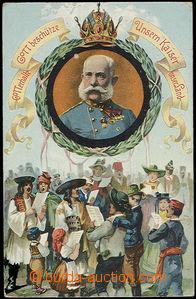 52350 - 1910 Franz Joseph I. in medallion, collage; Us, bumped corne