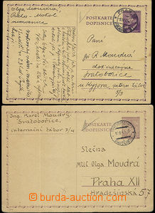 52379 - 1943 SVATOBORICE 2 pieces of protectorate post cards sent fr