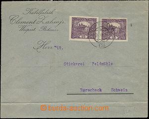 52396 - 1919 firemní dopis zaslaný do Švýcarska vyfr. 2ks zn. 25