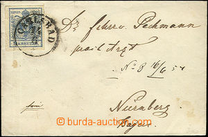 52416 - 1854 letter to Germany with 9 Kreuzer, Mi.5, CDS Carlsbad 14