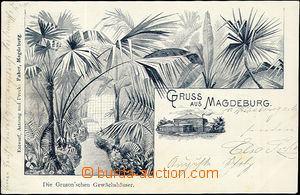 52425 - 1899 Magdeburg - glasshouse,  B/W lithography; long address,
