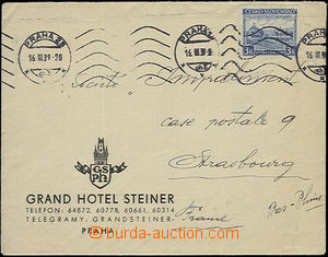 52472 - 1939 hotel letter sent from Prague 16.III.39 to France with