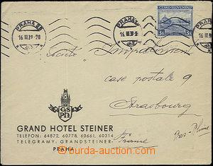 52472 - 1939 hotelový dopis zaslaný z Prahy 16.III.39 do Francie vyf