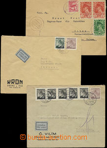 52478 - 1945 3 pcs of air-mail letters to Switzerland Us Czechosl. c