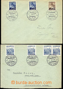 52517 - 1940 2 pcs of letters with railway pmk No.3 Kúty - Prague a