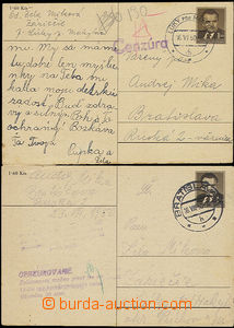 52522 - 1950 Bratislava  2 pcs of PC Gottwald CDV94 sent from and to