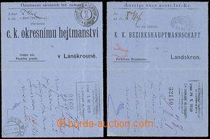 53734 - 1910 2ks úředních zálepek osvobozených od poštovného obsahuj