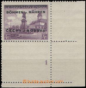 54006 - 1939 Pof.17 KD, dolní rohový kus s kupónem a DČ 1, svě�