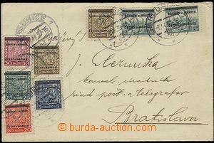 54050 - 1939 dopis na Slovensko vyfr. 8ks známek přetiskové séri