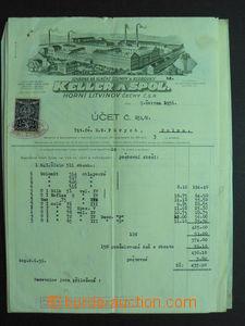 54214 - 1933-36 ČSR I.  sestava 6ks kolkovaných účtů, kolky lep