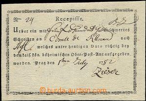 54259 - 1782 recepis tištěný, s názvem pošty Prag, na dopis adresova