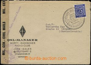 54277 - 1947 ALIANCE  letter to Czechoslovakia with 75Pf with specia