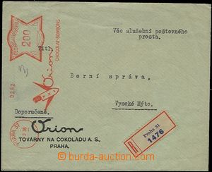 54281 - 1936 official Reg letter liberated from postage with payment