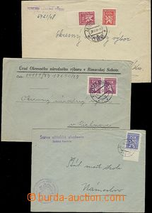 54315 - 1947-48 3x service letter franked with. official. stamps I.