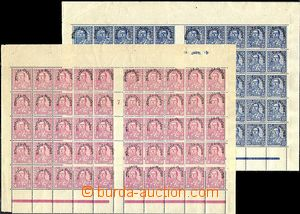54338 - 1928 Mi.193, 194, 197, 198, overprinted, counter sheets of 2