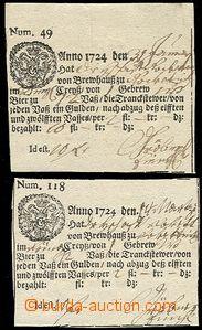 54408 - 1724 sestava 2ks tištěných stvrzenek (č.49 a č.118) povozní