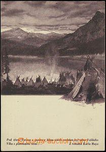 54453 - 1930? BURIAN Zdeněk : Indian camp, monochrome, dark violet s
