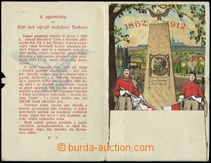 54462 - 1912 SOKOL  2-dílné barevné rozkládací leporelo s posta