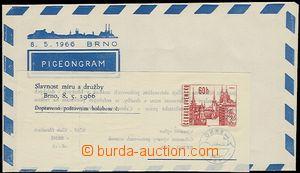 54501 - 1966 CHP2  Pigeongram Brno, Celebration Míru and friendship