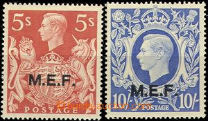 54524 - 1943-47 EGYPT  Mi.24-25, stamps GB 5Sh and 10Sh with přetis