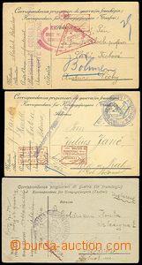 54544 - 1916-19 3ks zajateckých lístků ze zajateckých táborů v