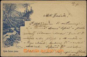 54555 - 1891 Čertovo jezero, výtok, předběžná pohlednice, pro�