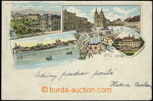 54563 - 1899 Duchcov (Dux) - lithography; long address, Us,  abrade