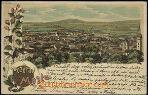 54564 - 1899 Most - litografická koláž, celkový pohled, Pozdrav