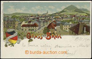 54566 - 1901 Most (Brüx) - litografie, celkový pohled, erb; DA, pr